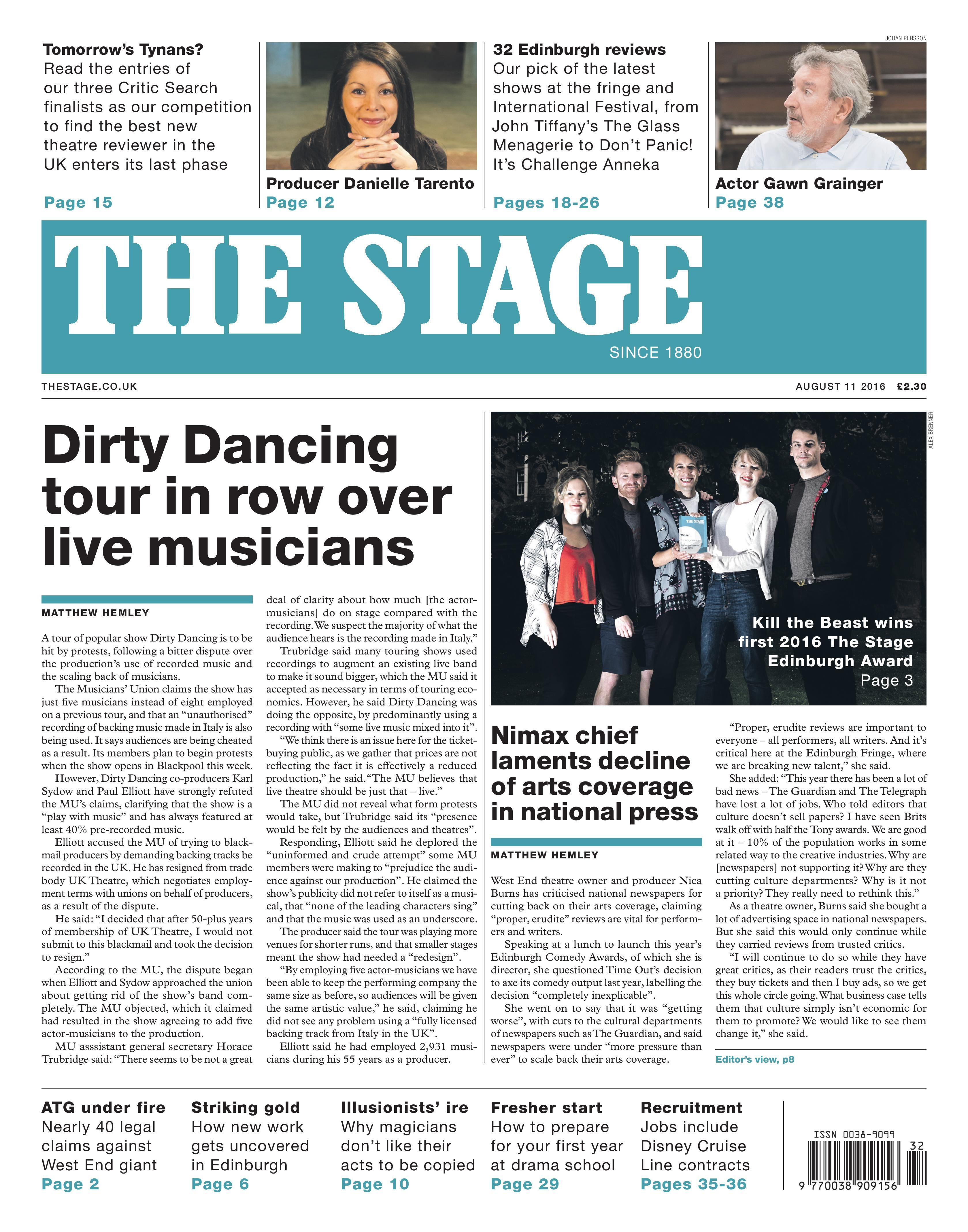 The Stage | August 11 2016: Dirty Dancing tour in row over live musicians.