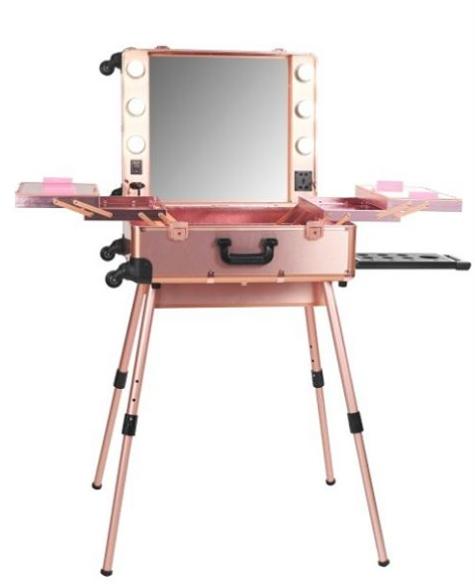 Ladymoss Com Pro Studio Lighted Makeup Case W Legs Rose Gold Makeup Trolley Makeup Storage Makeup Case