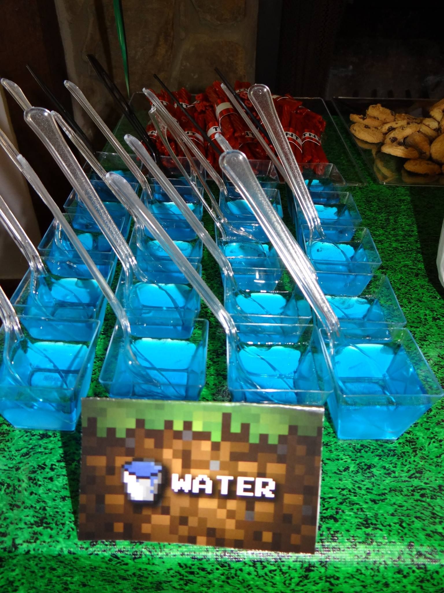 Blue Raspberry Jello in square cups from Party City as