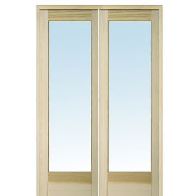 Verona Home Design MDF and Glass 2 Panel Unfinished French Interior Door Opening Width: 60""