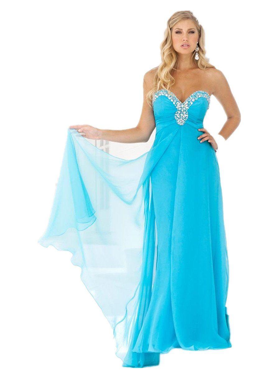 Lemandy robe de soir e longue mousseline col en coeur for Robes de demoiselle d honneur pour mariage en plein air