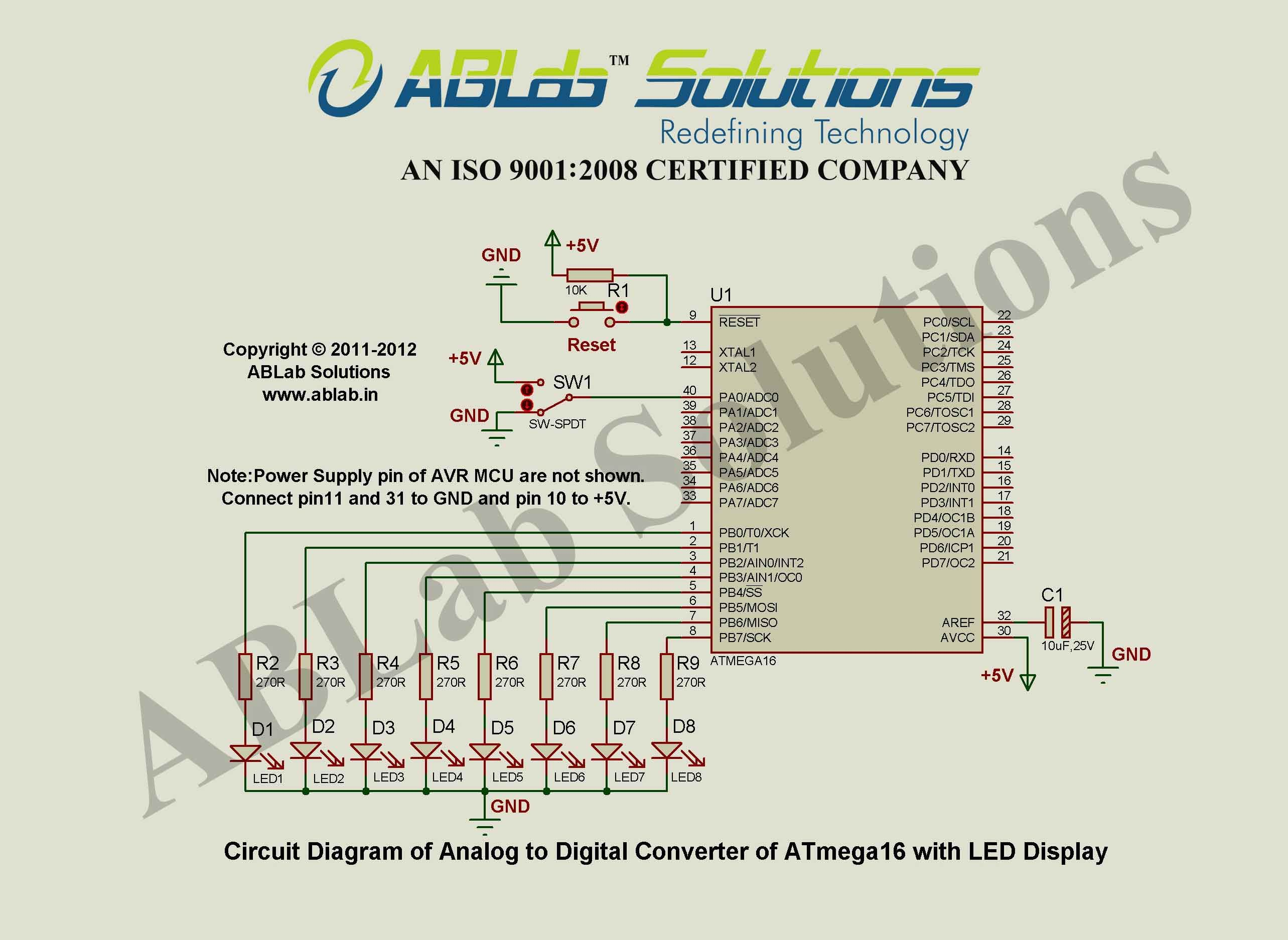 Analog To Digital Converter Of Avr Atmega16 Microcontroller With Led Display Circuit Diagram Ablab Solutions