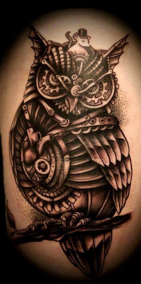 Steampunk Mechanical Owl Tattoo Mouse Owl Tattoos Pinterest Steampunk Tattoo Mechanic Tattoo Biomechanical Tattoo