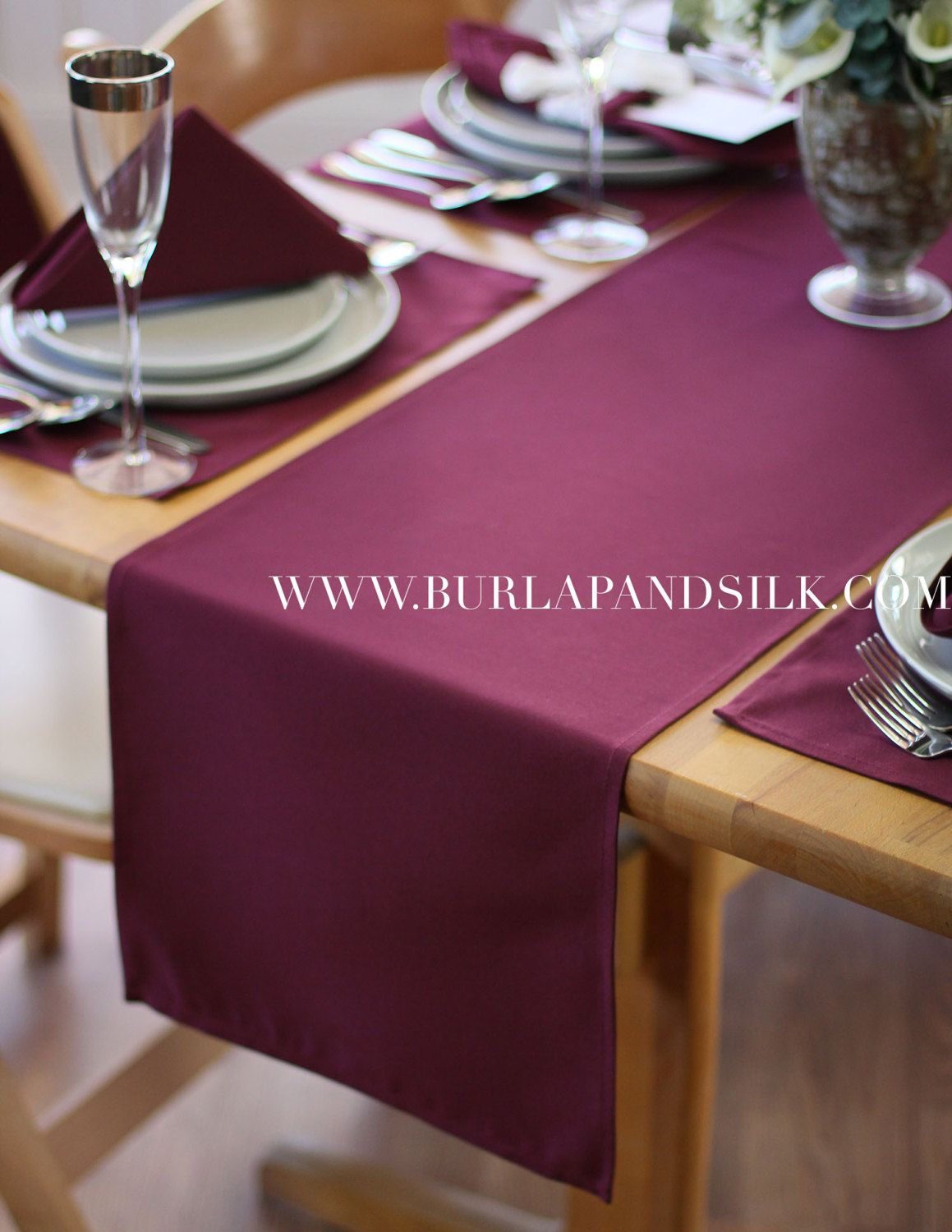 Burgundy Table Runner 14 X 108 Inches By BurlapAndSilkCompany
