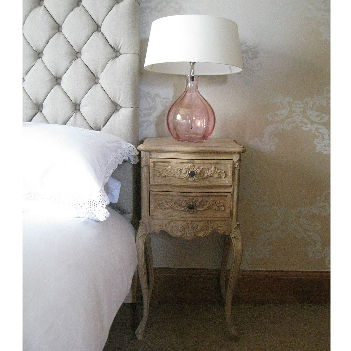 Antoinette Floral Oak Bedside Table By The French Bedroom Company