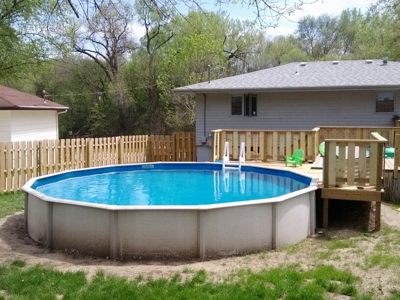 21´ pool deck with railing inztalled Deck, Outdoor decor