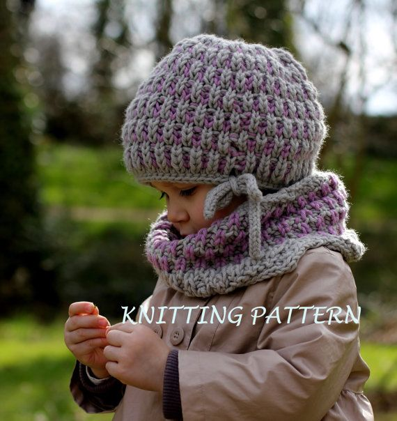 Knitting Pattern - Hat and Neck Warmer BRIOCHE SET (Toddler, Child ...
