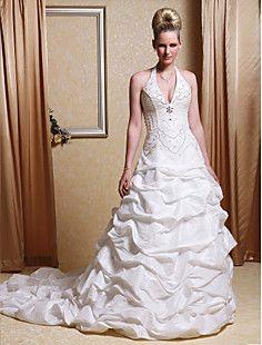 Ball Gown Halter Chapel Train Taffeta Pick-up Wedding Dress – USD $ 395.99