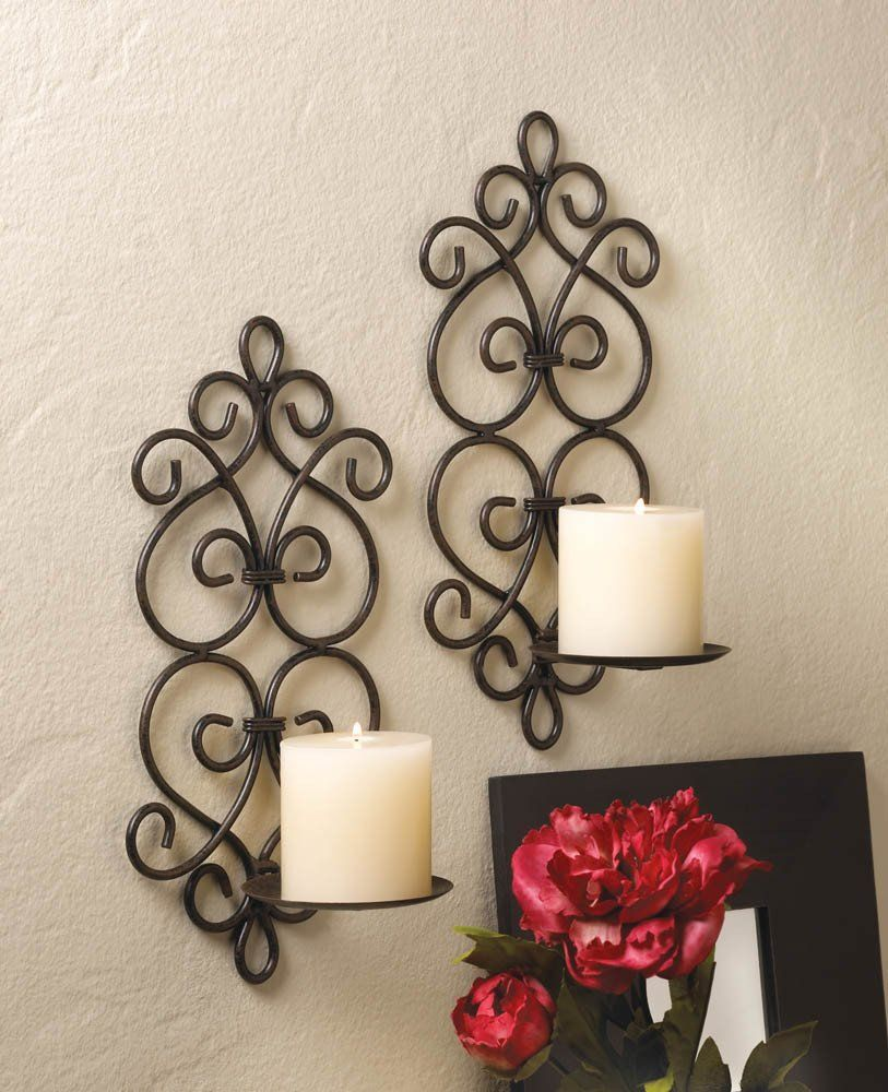 Burgeon candle wall sconce set metals products and sconces burgeon candle wall sconce set beautiful decorative metal scrolling candle wall sconce set these amipublicfo Gallery