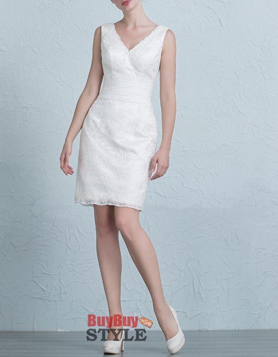 Find simple column, sheath v-neck lace short petite wedding dresses ...