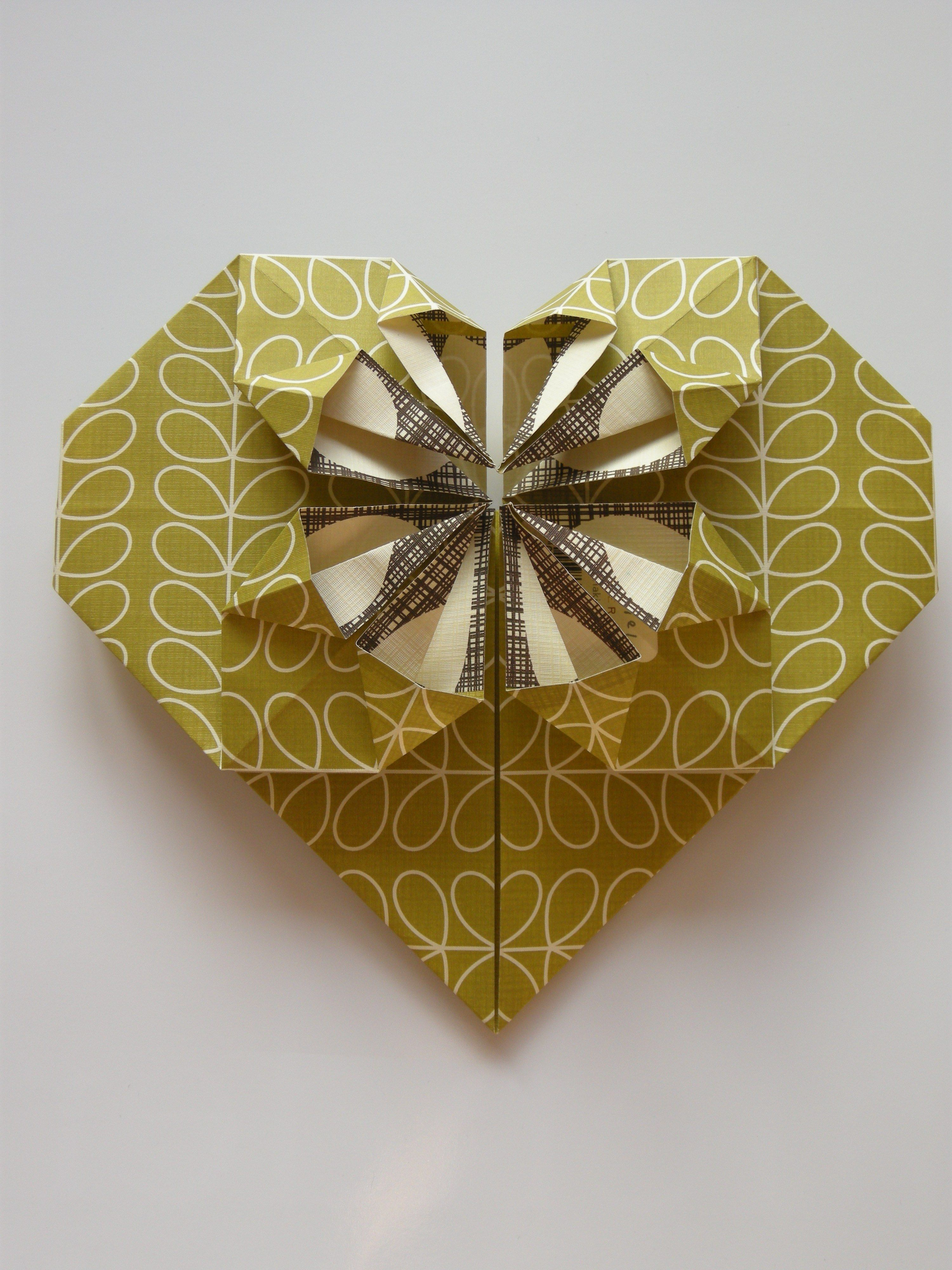 Origami heart with pattern by Orla Kiely