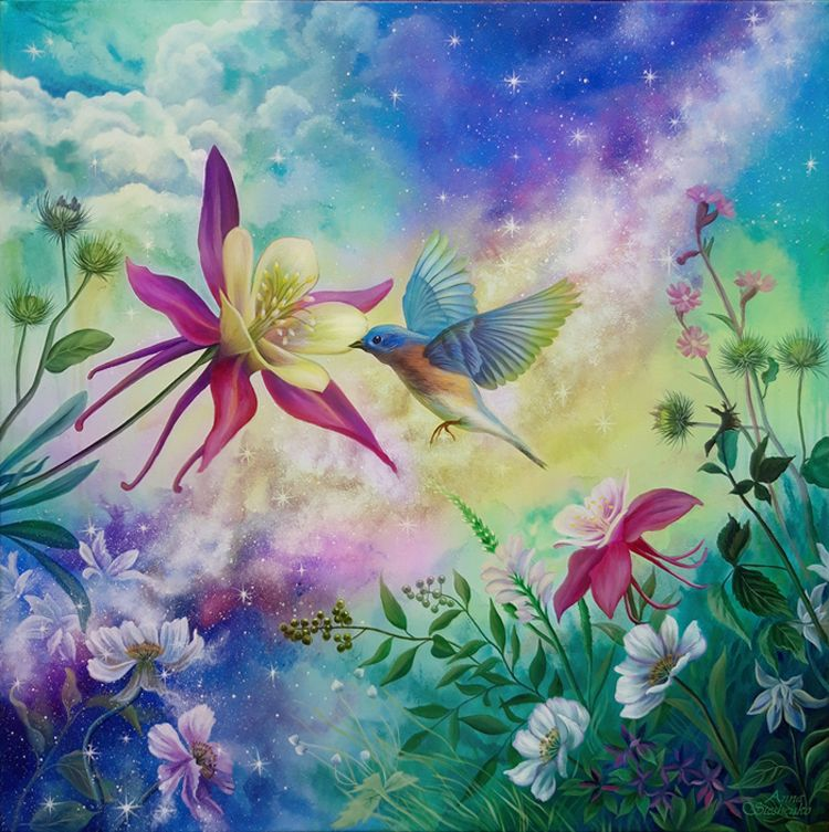 Blossoming Of Life Magic Nature Art Universe Space Painting Floral Flowers Painting With Bird Nature Art Painting Nature Paintings Painting