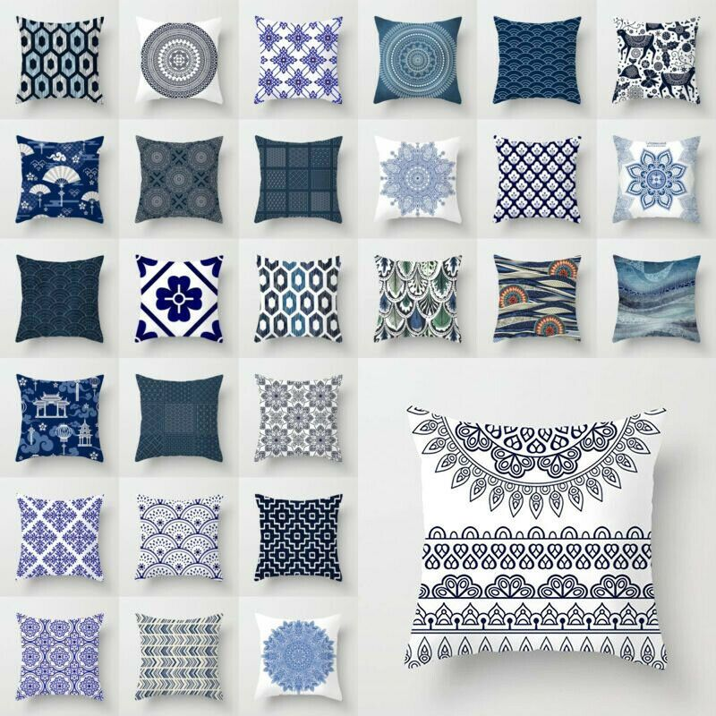 Polyester Blue White Porcelain Pattern Sofa Car Decor Pillow Case Cushion Cover White Sofa Ideas Of White S Cushions On Sofa Sofa Decor Sofa Cushion Covers