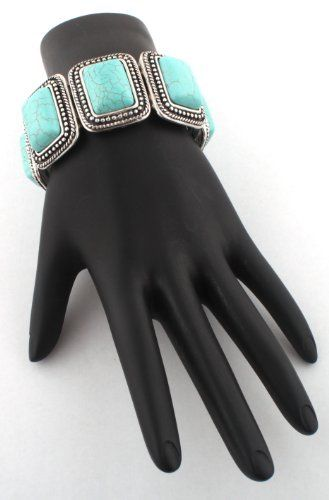 Ladies Turquoise Antique Silver Rectangle Style Elastic Stretch Bracelet JOTW. $6.95. Great Quality Jewelry!. 100% Satisfaction Guaranteed!