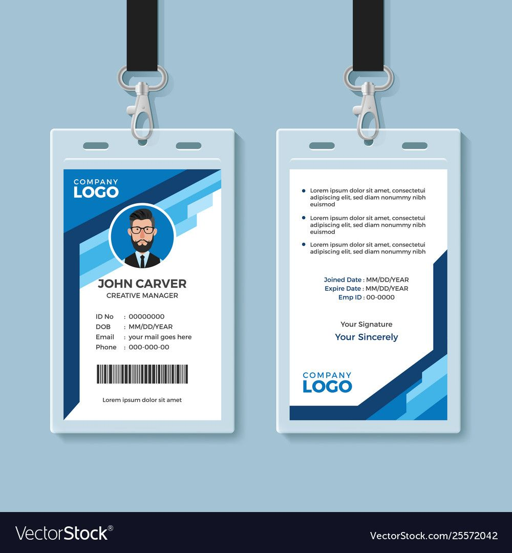 Blue Graphic Employee Id Card Template Inside Work Id Card Template Employee Id Card Id Card Template Identity Card Design