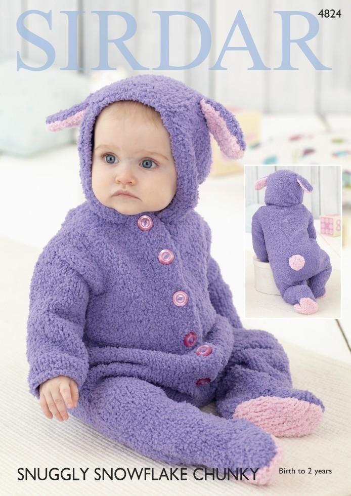 Sirdar Baby All In One Onesie Snowflake Chunky Knitting Pattern 4824