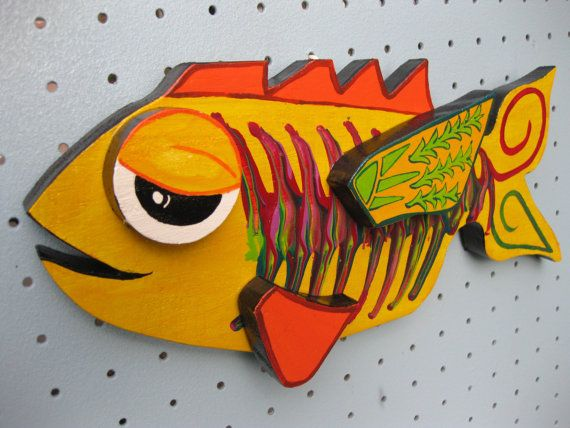 FISH Painted Wooden Plaque Wall Art Cute Whimsical by mousatplay ...