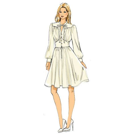 Boho chic, retro-70s dress by Vogue Patterns. Sew it out of georgette or other lightweight fabrics. V9076, Misses' Dress
