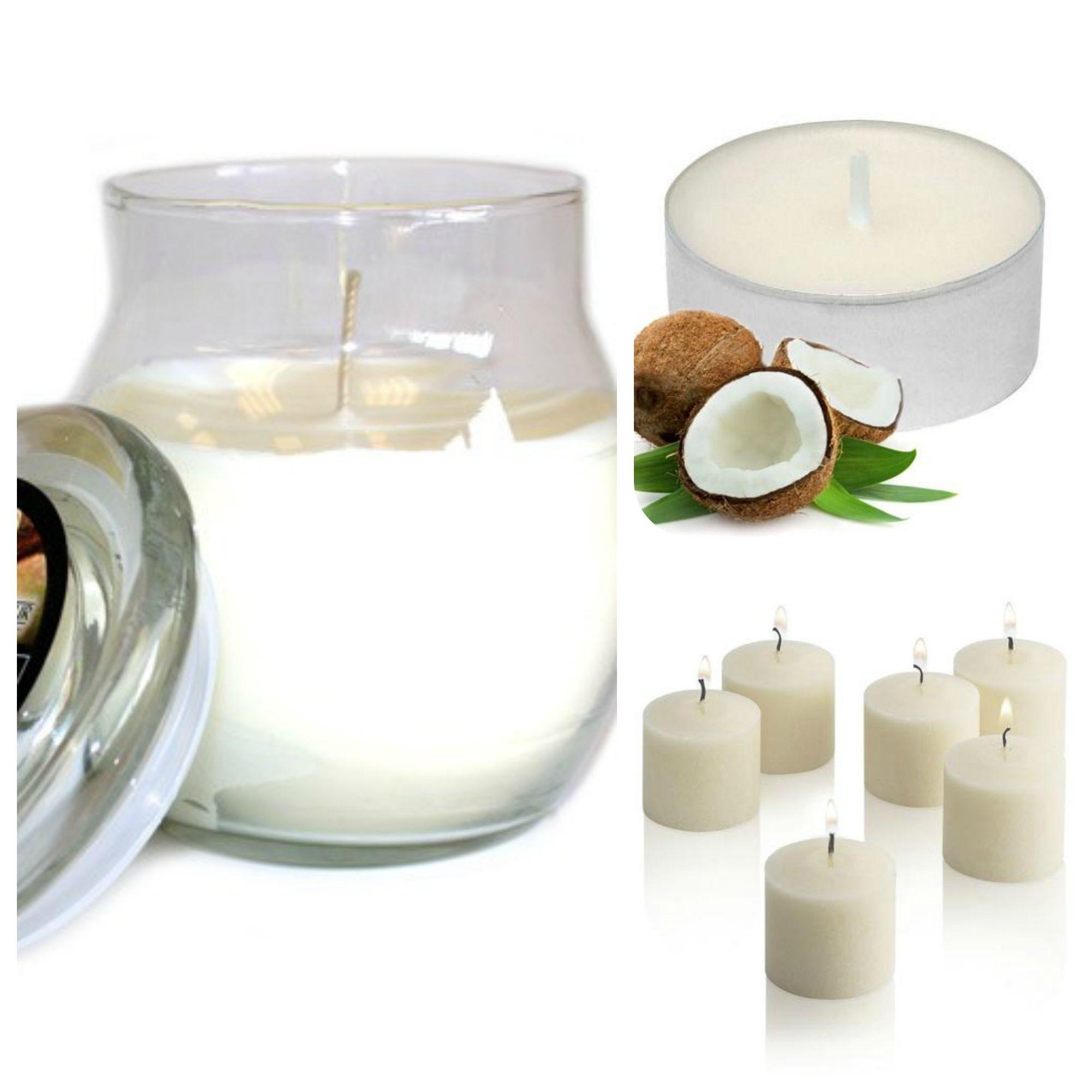 #Coconut #ScentedCandles Collection. Glass #jarcandle  #scentedvotivecandles  #scentedtealights #homefragrance