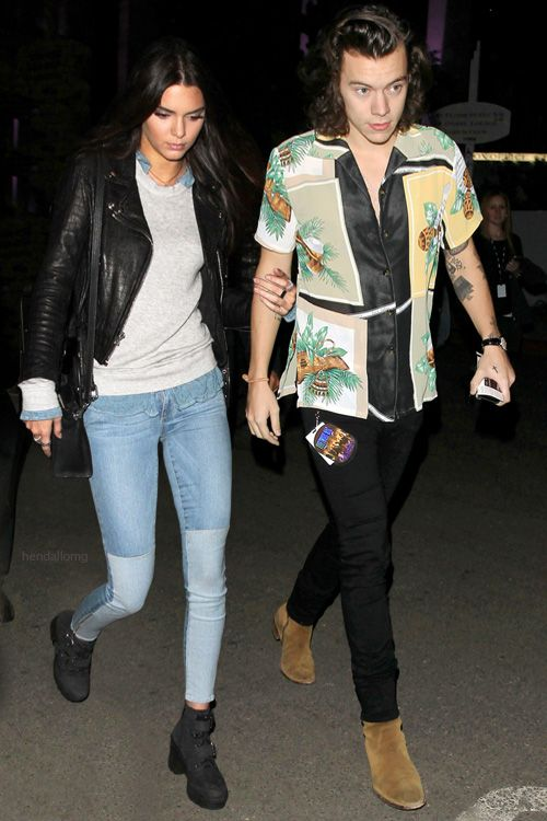 kendall jenner and harry styles leave a restaurant in la after