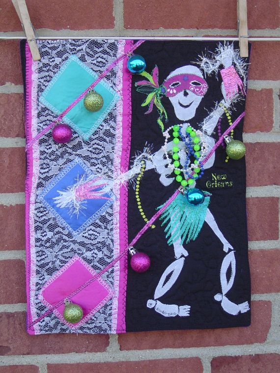 Mardi Gras Skelly Art Quilt by Susiartquilts on Etsy, $25.00