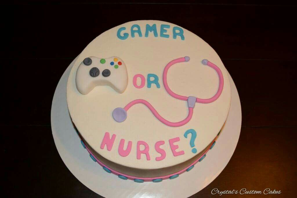 A Totally Different And Personal Gender Reveal Cake Gamer Or Nurse
