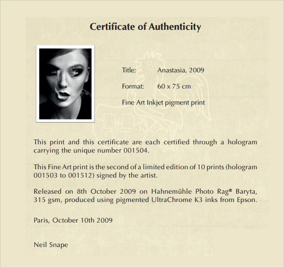 8 certificate of authenticity templates free samples examples format