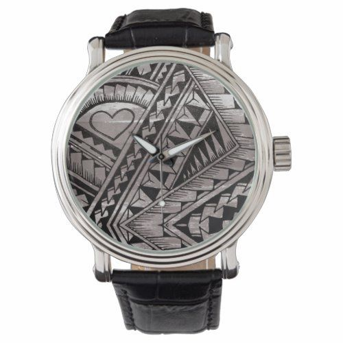 Black and White Tribal Tattoo Pattern Father's Day Watch | Zazzle.com