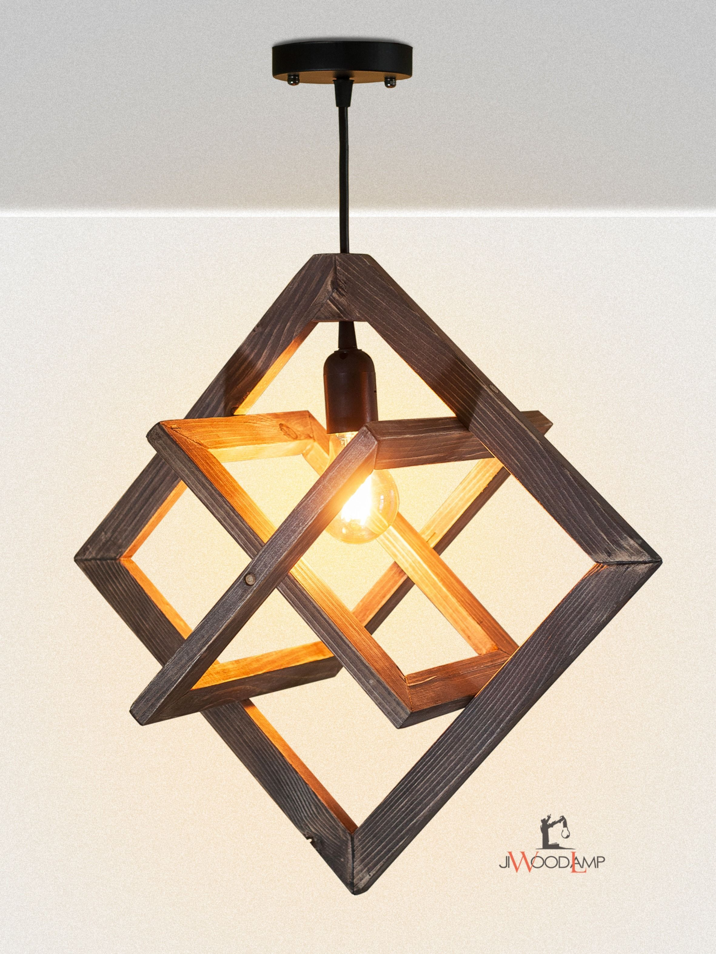 Wooden hanging lamp, Wood lamp, Pendant lighting, Wooden