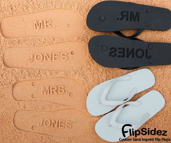 744b71d84510 MR and MRS Bridal Flip Flops - Personalized Sand Imprint Flip Flops  (listing is for ONE pair)  check size chart