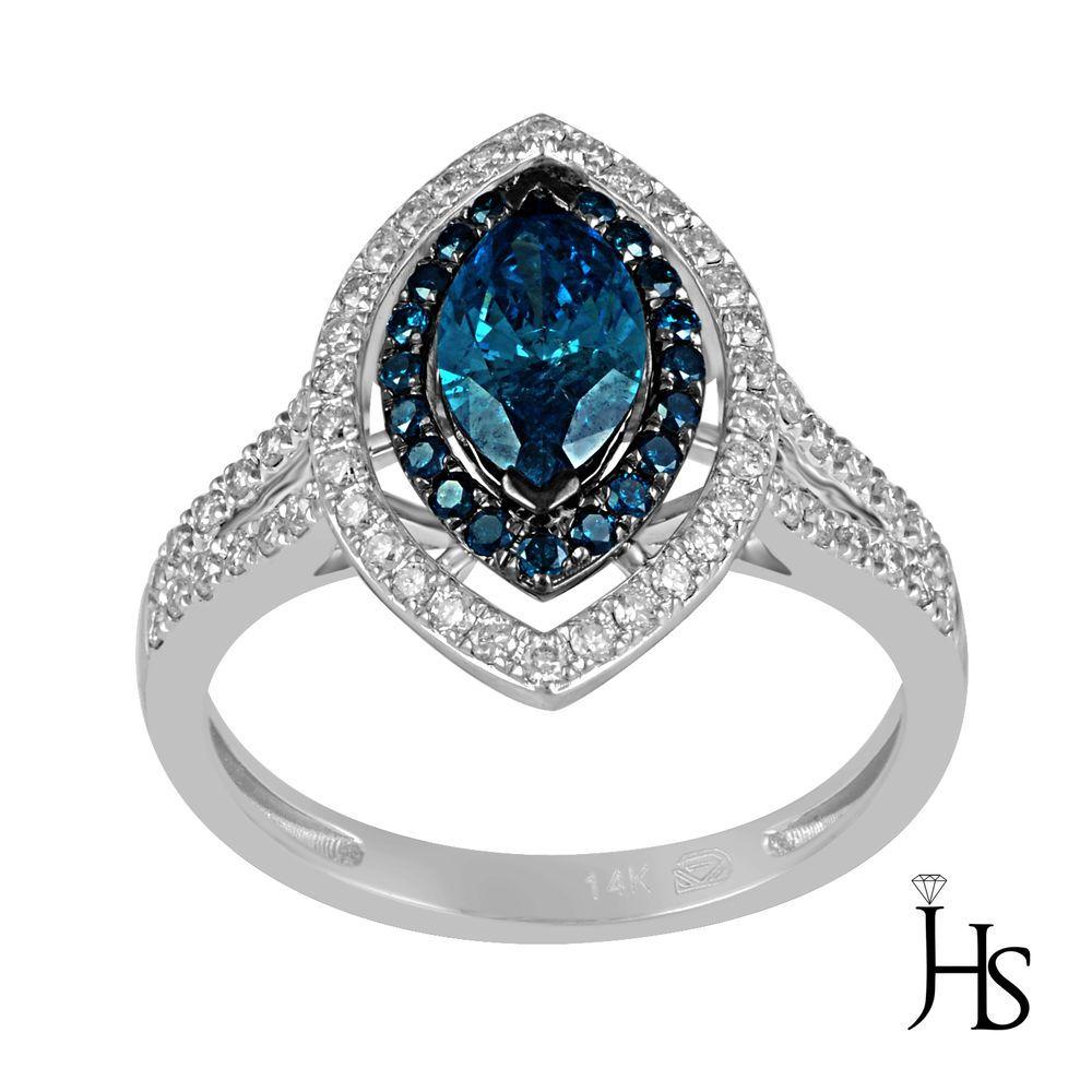 14K White Gold 1.31 CT Treated Blue & White Diamond Double Halo Split Shank Ring #WomensEngagementRingJewelryHotspot