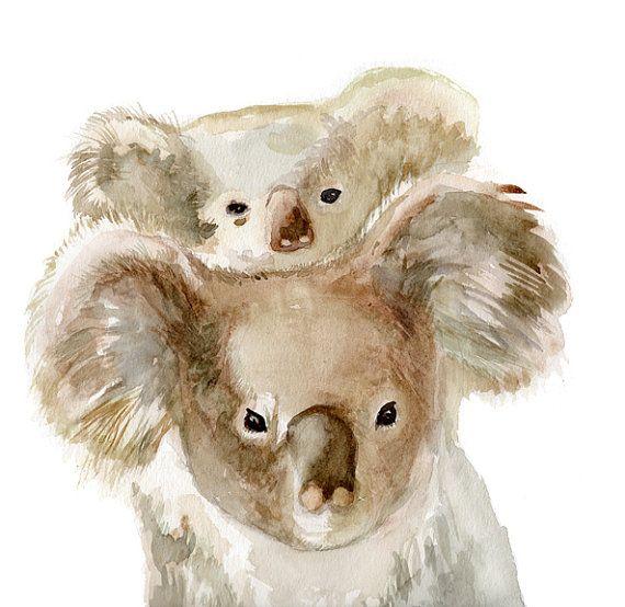 Koala Print Kids Room Art Nursery Room By Verbruggewatercolor