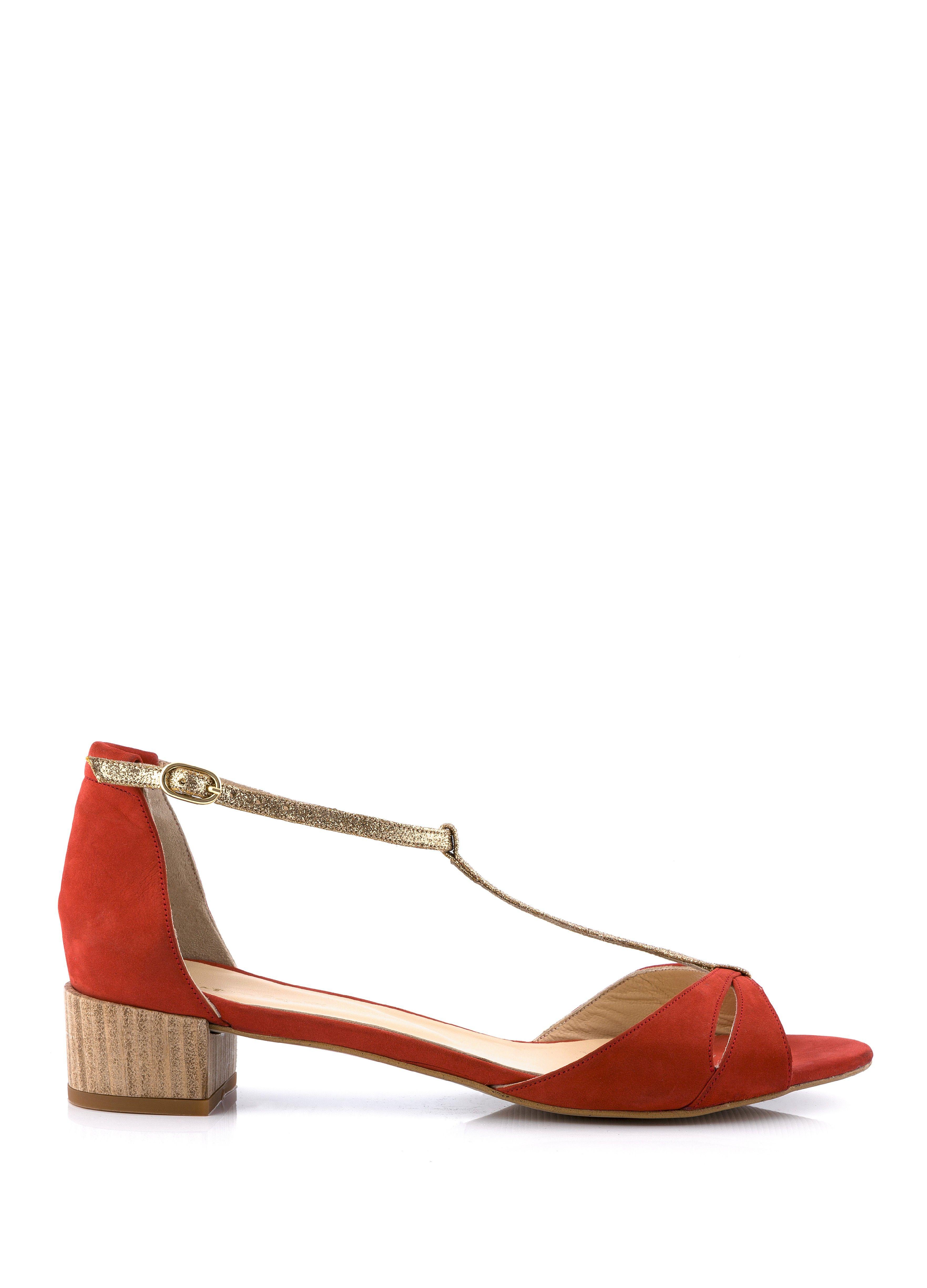 sandale à talon selfish rouge - sandales plates - femme nouvelle