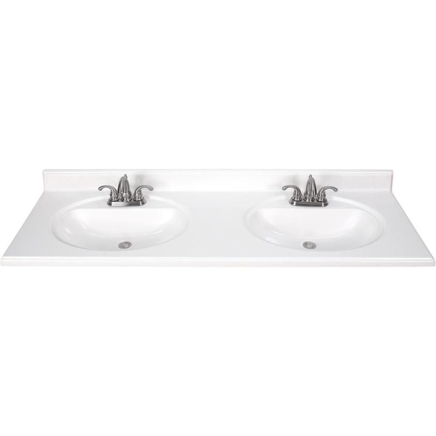 Style Selections White Cultured Marble Integral Bathroom Vanity Top Common X Actual
