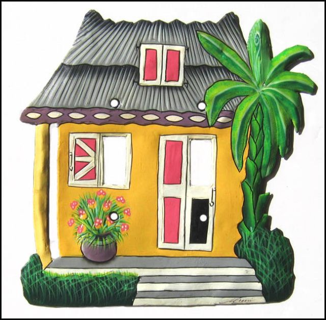 Caribbean Tin Roof House - Painted Metal Tropical Switch Plate Cover ...