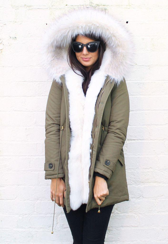 Alexa Full Faux Fur Trim Parka in Khaki Green with White - One ...