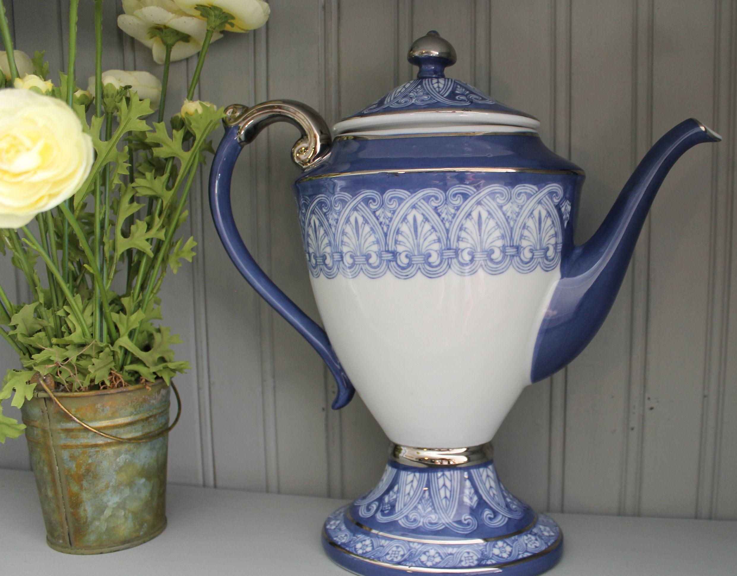 Vintage Bombay Company Blue White Tile Tall Coffee Tea Pot