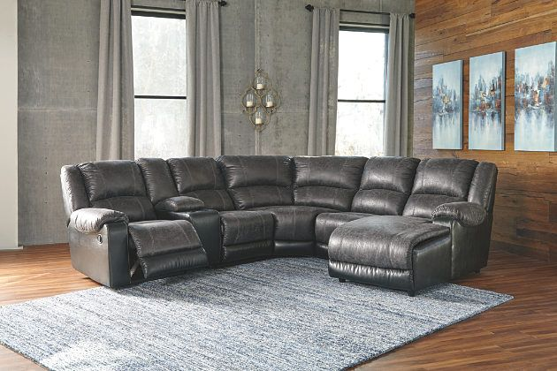 """There's no """"I"""" in team, and you'll want everyone you know to feel the comfort of the Nantahala 6-piece sectional. Slate gray and black faux leather upholstery add a nice contrasting element to the plump cushions. Take it a step further with jumbo stitching that makes the distressed finish pop. Accommodating storage consoles and cup holders are a great addition. Modular sectional pad over chaise adds yet another great feature. With seating so roomy, what an incredible value."""