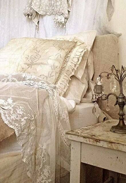#Shabby #Chic lace and silk #bedding in soft creams and white, simply beautiful... http://www.myshabbychicstore.com