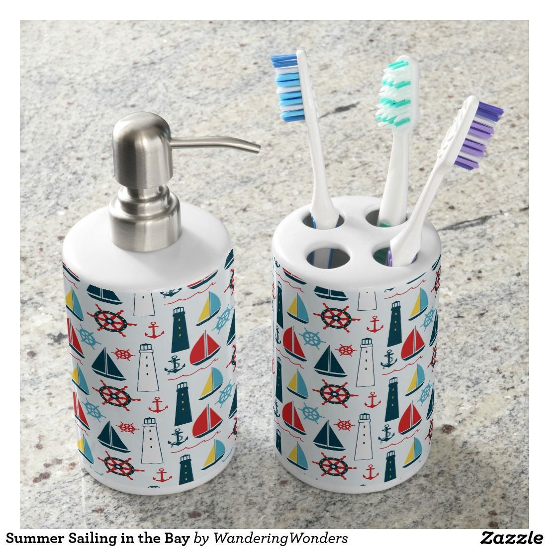 Summer Sailing in the Bay Bath Accessory Sets