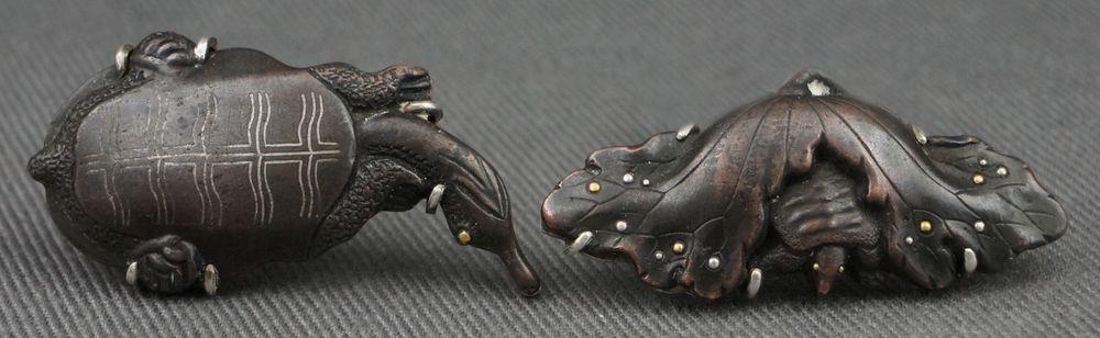 1900 Antique Japanese Sword Shakudo Menuki Bronze Gold Turtle