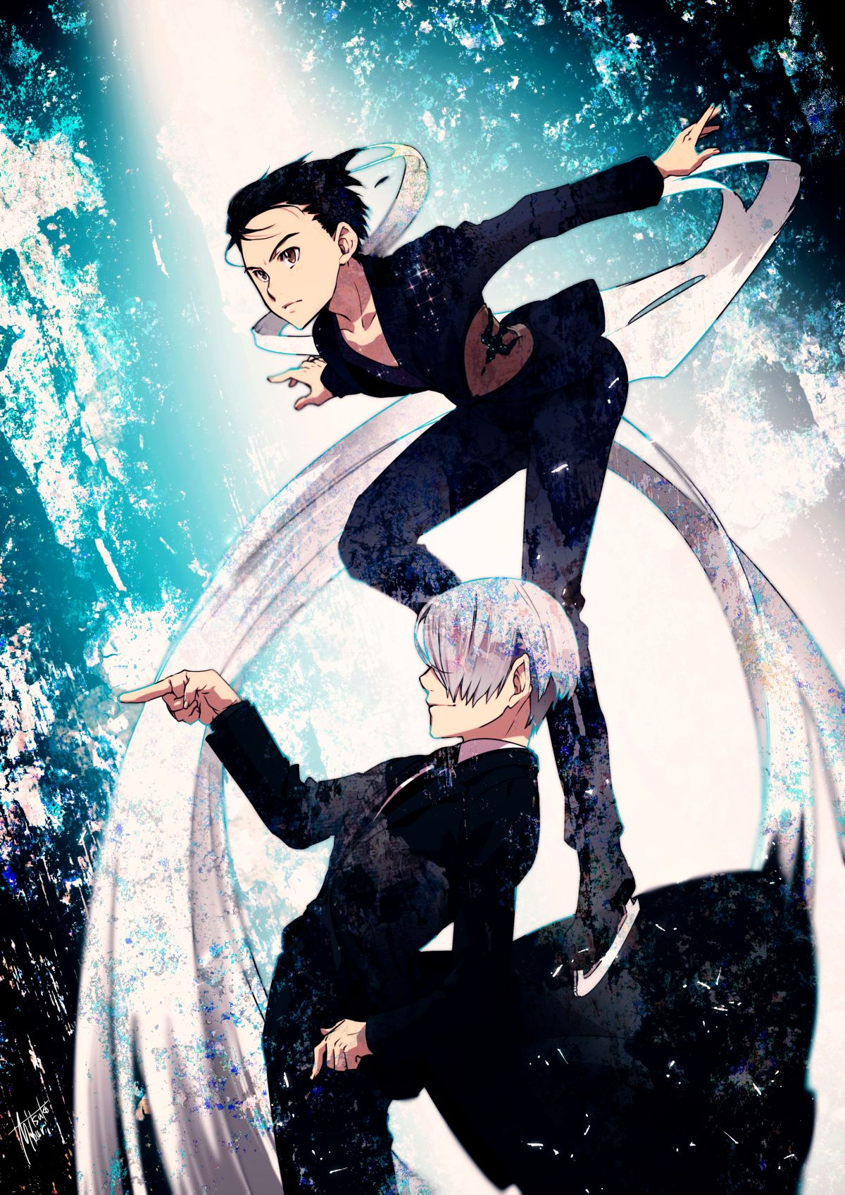 Tags Fanart Pixiv Mouri Pixiv117817 From Yuri On Ice Katsuki Yuuri Victor Nikiforov Mobile Wallpaper