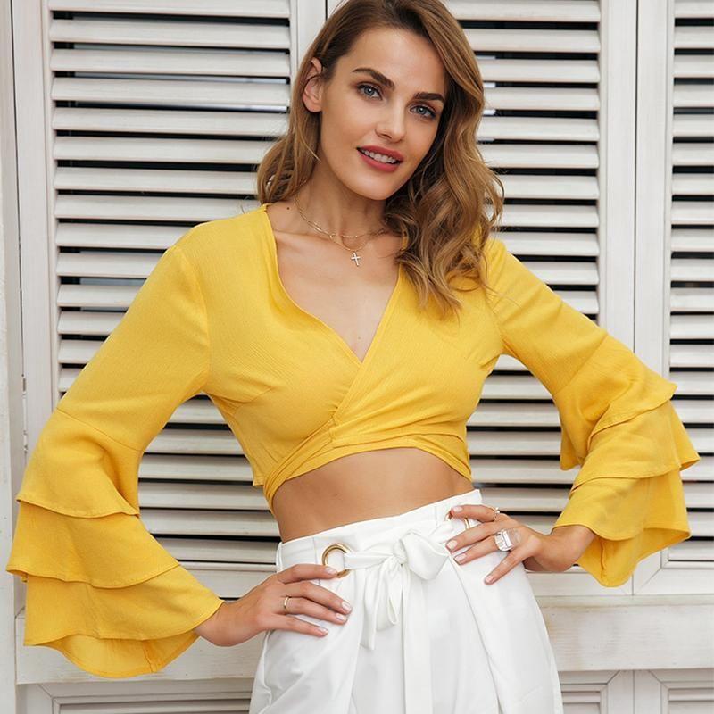 d0e950084991 V Neck Wrap Ruffle Crop Top #blouse #top #tops #croptop #mesh #glitter  #shine #bodysuit #gamis #love #tunik #fashion #gamismurah #pants #dress  #blazer ...