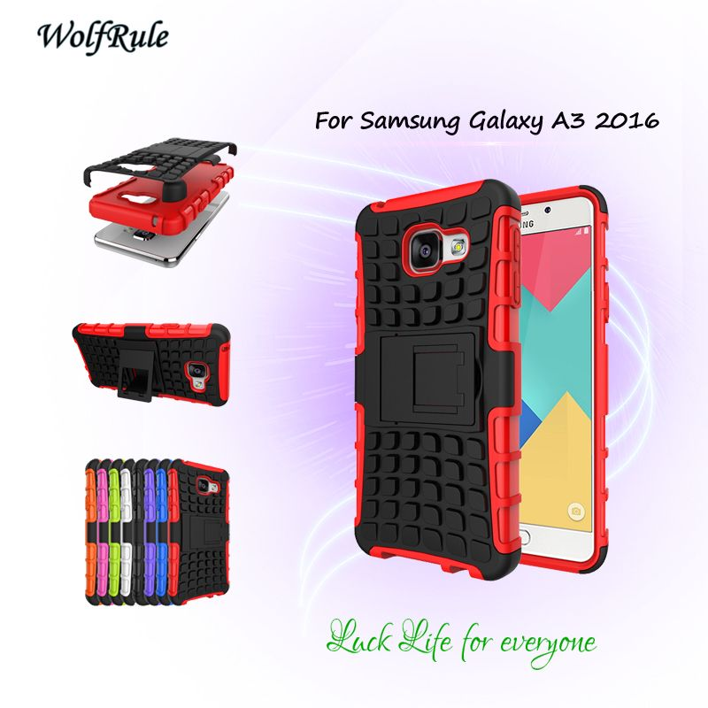 Wolfrule For Samsung Galaxy A3 2016 Case Duallayer Hard Plastic Shockproof Stand Fundas Phone Cover For Samsung A3 2016 Samsung Galaxy A3 Phone Samsung Galaxy