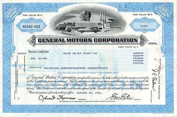 General Motors Blue Stock Certificate | Scripophily / Dow Jones ...