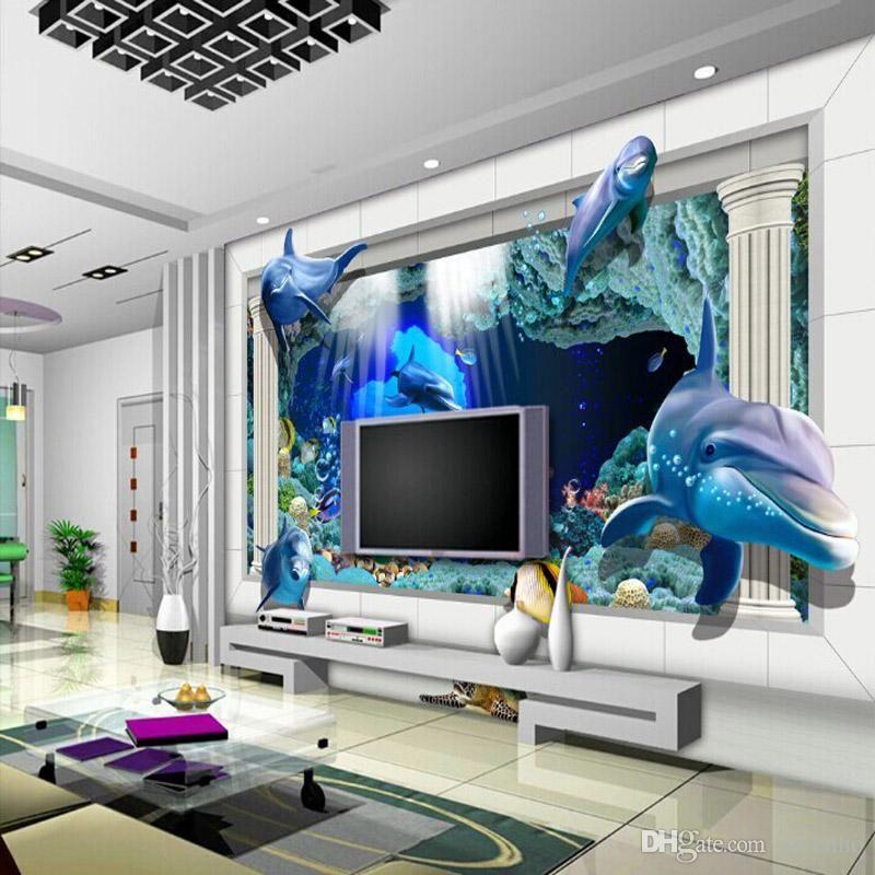 3d Underwater World Photo Wallpaper Custom Dolphin Wallpaper Ocean Cute Animal Wall Mural Unique D Kid Room Decor 3d Wallpaper Living Room Living Room Pictures