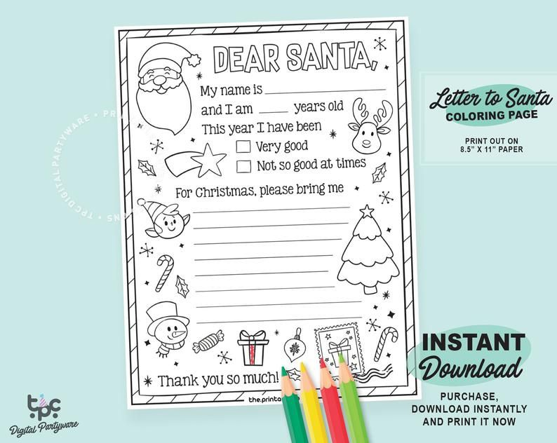 Instant Download Letter To Santa Coloring Page Printable Dear
