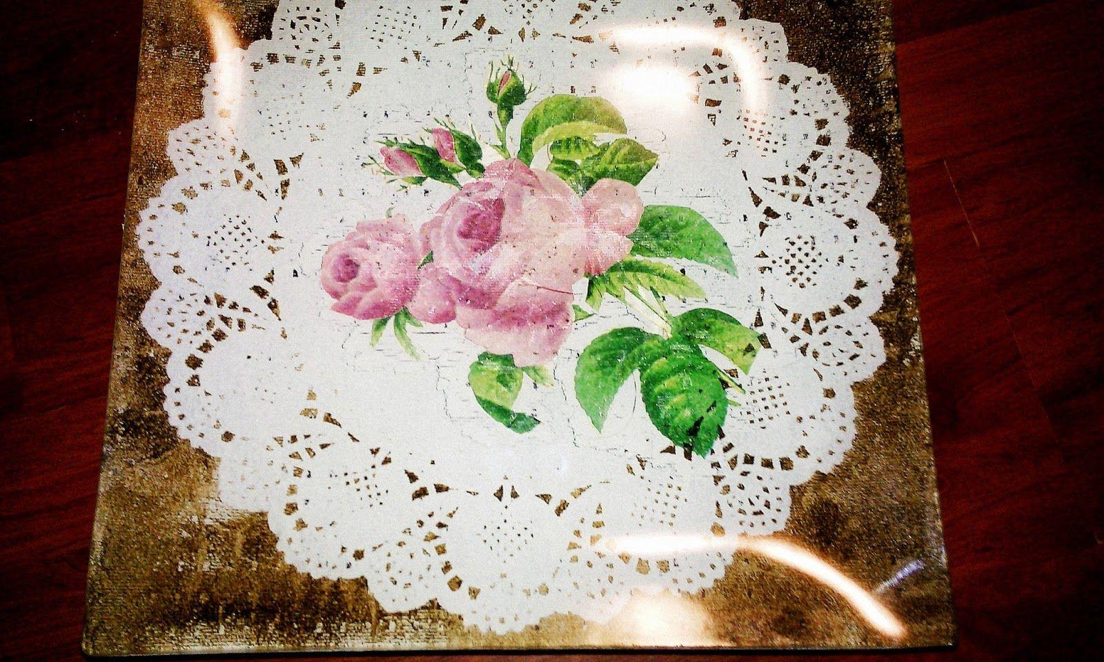Smells Like Mommy: Decoupage on glass#decoupage #plates