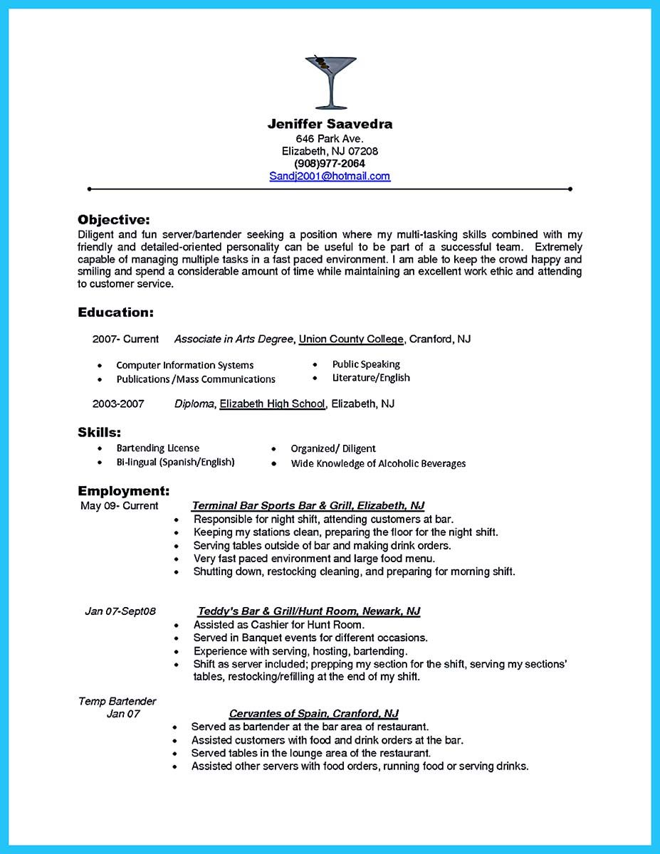 Bartender Resume Examples Being A Bartender Is A Dream Of Some Peoplethose People Make The