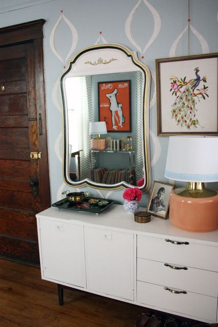 I like the idea of dresser, mirror off to one side, with a lamp and tray. Could be cute for an entryway.